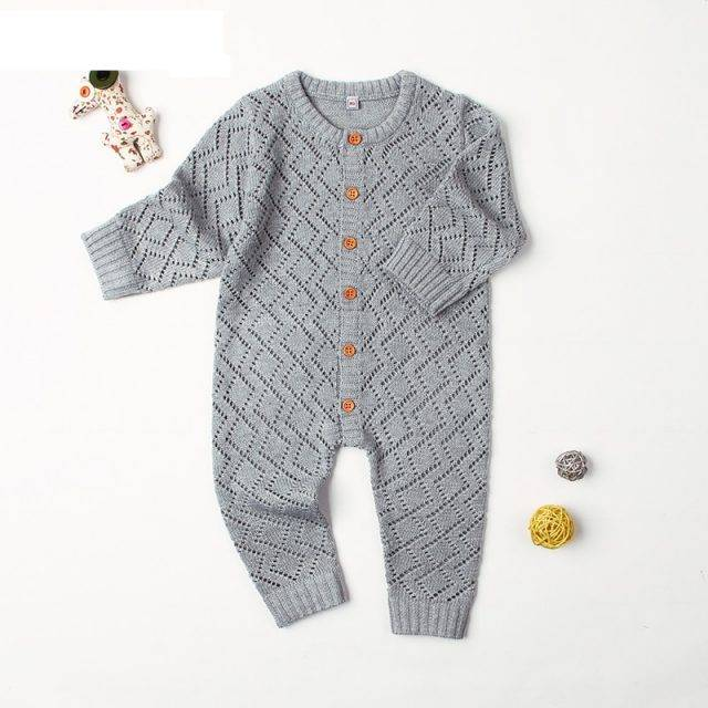 Newborn Rompers Spring Long Sleeve Toddler Girls Overalls Autumn Candy Color Infant Boys Jumpsuits Children Knit Outfits Clothes