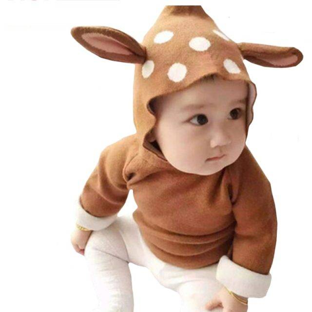 2019 New Baby Girls Cartoon Deer Costume Cardigan Toddler Kids Boys Dot Animal Knitted Crochet Sweater Outwear Clothing 12M-5Yrs