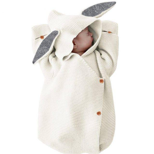 Cute Rabbit Baby Stroller Sleeping Bag Spring Autumn Toddle Infant Knitted Swaddle Wrap Nest Envelopes For Newborns Kids 75*35cm
