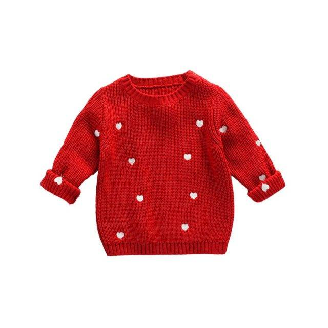 cute Autumn Spring Baby Girls Sweaters Kids Clothes Children Cotton Knitted Sweater Baby Girls Cute Love Heart Sweater