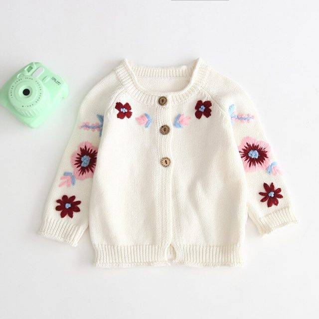 2019 Baby Cardigan Sweater Children's Knitted Sweater Baby Embroidered Flowers Sweater Baby Pure Cotton Blouse Clothes