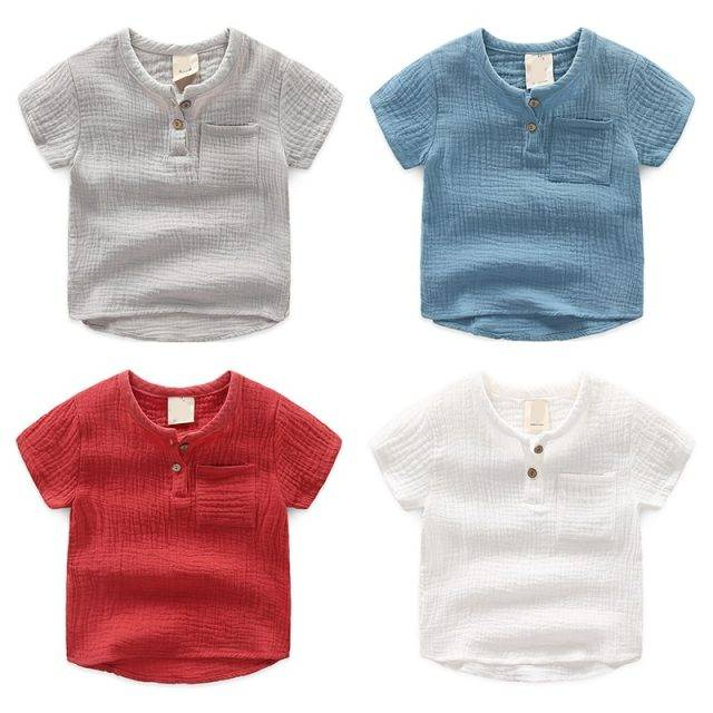 2019 Girls Tshirts Kids Cotton Clothes children t-shirts for baby boys t shirts  candy solid short sleeve summer Tops linen soft