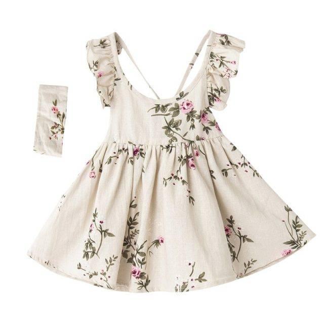 Girls Backless Dress Kids Girl Summer Linen Printed Dress With Hairband Lovely Baby Girl Clothes Dresses Children Clothing