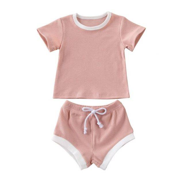2020 Infant Baby Girl Boy Clothes Sets Solid Knit Short Sleeve Tops T-shirt+Shorts Pants Outfits 4 Colors