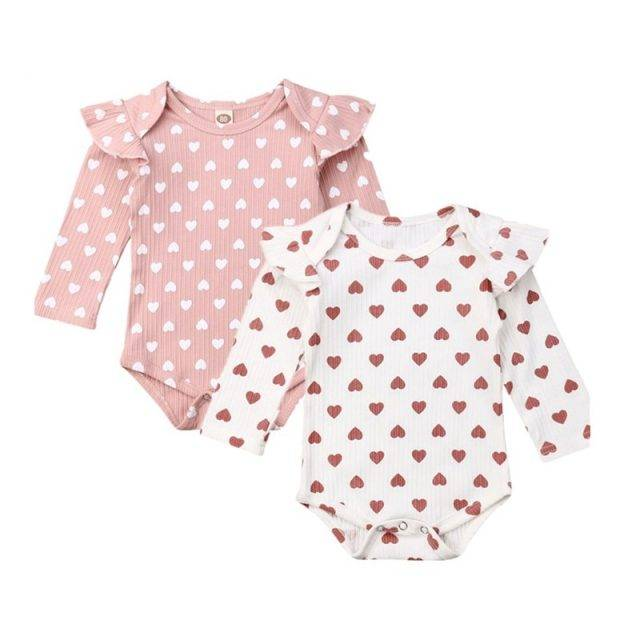 2019 Baby Spring Autumn Clothing Newborn Kids Baby Girls Ribbed Clothes Ruffle Hearts Jumpsuit Fly Long Sleeve Bodysuit Outfit