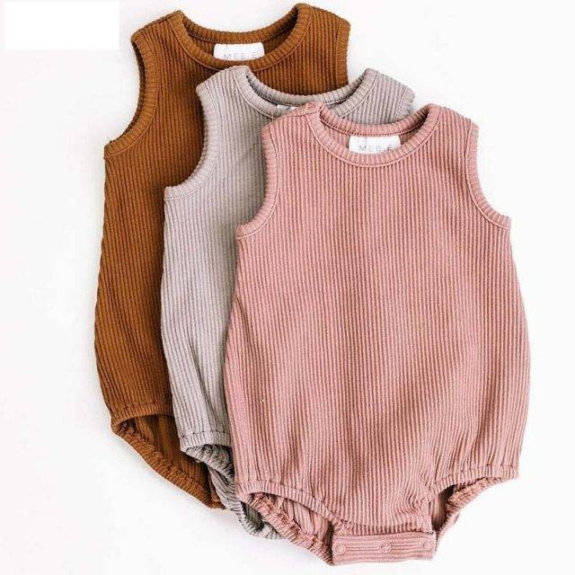 2019 Brand Newborn Kid Baby Girl Boys Solid Jumpsuit Crawling Suit Summer New Casual Sleeveless Solid Bodysuit Outfit Sunsuit