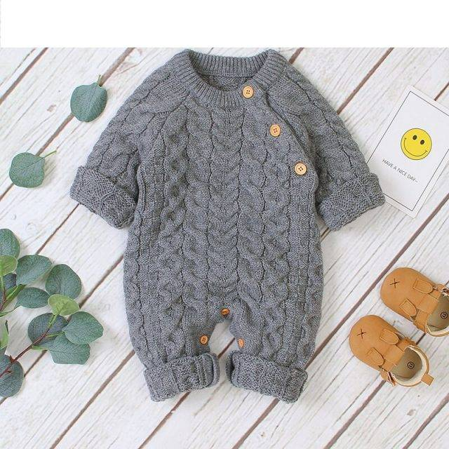 Baby Rompers Clothes Winter Thick Warm Knitted Newborn Boys Girls Jumpsuits Long Sleeve Toddler Infant Outfits Children Sweaters