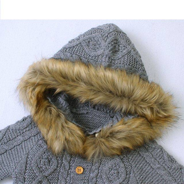 Baby Winter Rompers Clothes Autumn Hooded Long Sleeve Newborn Infant Boys Girls Jumpsuits Outfits 0-18M Children Knitted Overall
