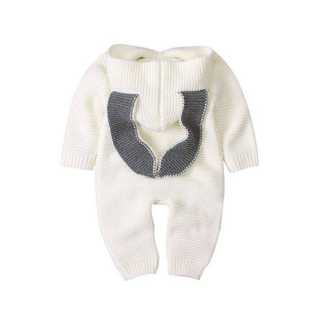 Baby Rompers Knitted Cartoon Rabbit Ear Newborn Bebes Jumpsuits for Boys Girls Long Sleeve Overalls Fall Winter Children Sweater