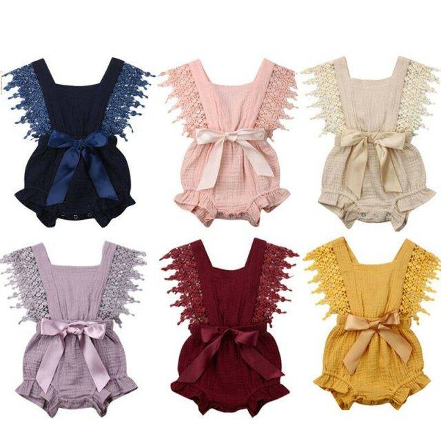 2019 Baby Summer Clothing Newborn Toddler Baby Girls Solid Lace Bodysuits Newborn Bow-knot Belt Jumpsuits Clothes Outfits 0-24M